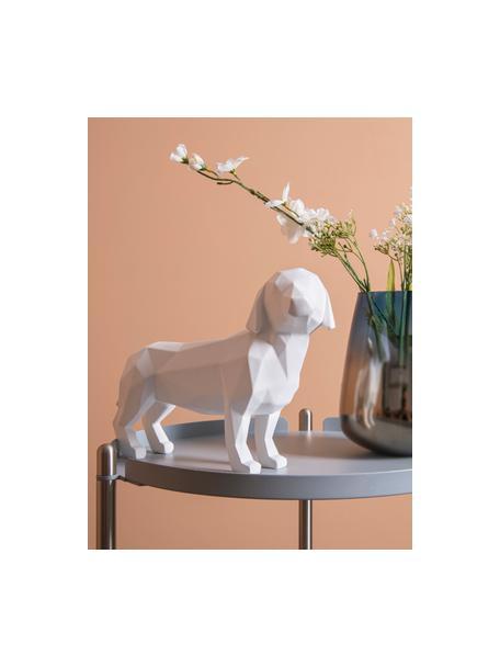 Decoratief object Origami Dog, Kunststof, Wit, 30 x 21 cm