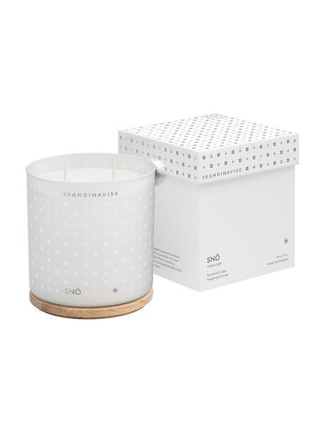 Zweidocht-Duftkerze Snö (Winterbeeren, gefrorene Hölzern), Behälter: Glas, Deckel: Birkenholz, Box: Karton, Weiß, 10 x 16 cm