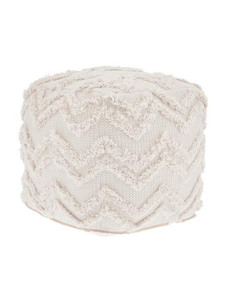 Pouf boho taftato a mano Akesha, Rivestimento: cotone, Bianco, Larg. 45 x Alt. 45 cm