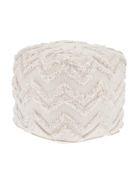 Puf artesanal Akesha, estilo boho, Funda: algodón, Blanco, An 45 x Al 45 cm