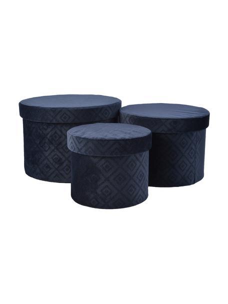 Set de cajas de regalo de terciopelo Trinity Caro, 3pzas., Terciopelo de poliéster, Azul oscuro, Set de diferentes tamaños