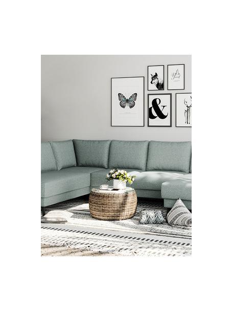 Sofa narożna XL z aksamitu Fynn, Tapicerka: 100% poliester z uczuciem, Stelaż: drewno liściaste, drewno , Nogi: drewno lakierowane Dzięki, Greige, S 306 x G 200 cm