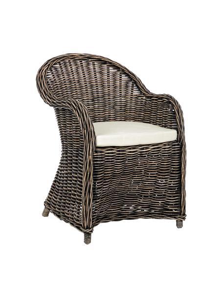 Sedia in rattan con braccioli e cuscino Martin, Rivestimento: cotone, Rattan, nero, bianco, Larg. 60 x Prof. 67 cm