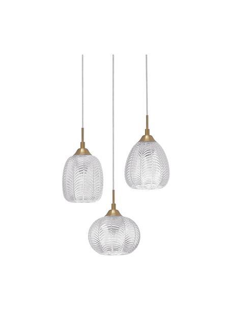 Cluster-Pendelleuchte Vario aus satiniertem Glas, Lampenschirm: Glas, satiniert, Baldachin: Aluminium, beschichtet, Goldfarben, Transparent, Ø 39 x H 24 cm