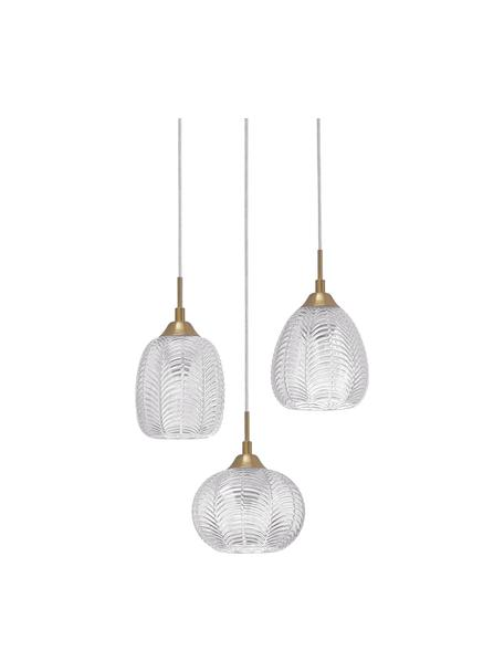 Cluster hanglamp Vario van gesatineerd glas, Lampenkap: gesatineerd glas, Baldakijn: gecoat aluminium, Goudkleurig, transparant, Ø 39 x H 24 cm