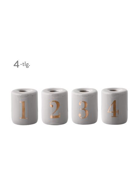 Komplet świeczników Advent, 4 elem., Porcelana, Świecznik: kamienny szary, matowy Nadruk: odcienie złotego, Ø 6 x W 8 cm