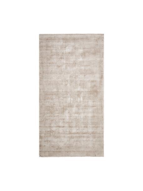 Tappeto in viscosa beige tessuto a mano Jane, Retro: 100% cotone, Beige, Larg. 80 x Lung. 150 cm (taglia XS)