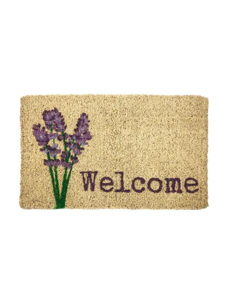 Handgewebte Fußmatte Lavender Welcome, Kokosfaser, Beige, Lila, Grün, 45 x 75 cm