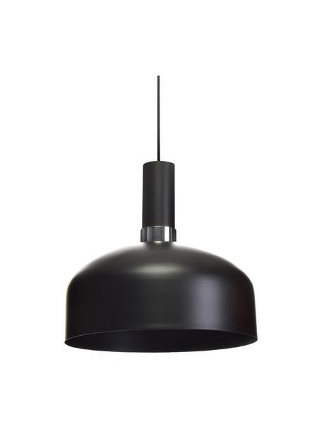Hanglamp Malmo van metaal, Lampenkap: gecoat metaal, Baldakijn: gecoat metaal, Zwart, chroomkleurig, Ø 30 x H 25 cm