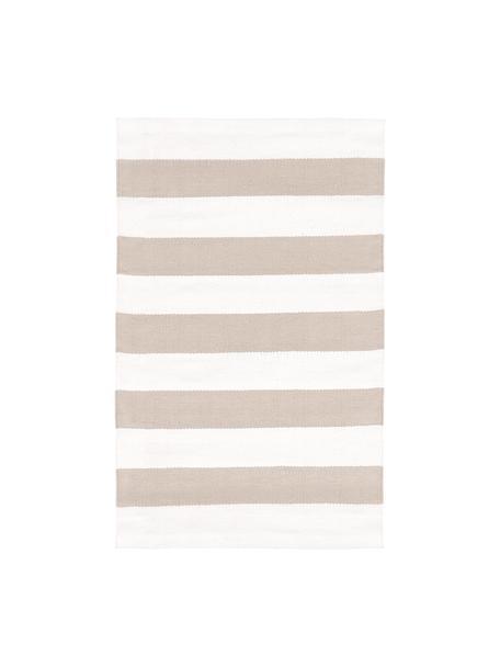 Tappeto in cotone a righe Blocker, Cotone, Bianco crema/taupe, Larg. 50 x Lung. 80 cm (taglia XXS)