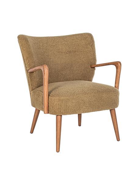 Fotel wypoczynkowy z imitacją wełny Moritz, Nogi: drewno kauczukowe, Musztardowy, S 66 x G 74 cm