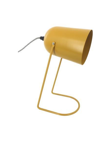 Lámpara de mesa pequeña Enchant, estilo retro, Pantalla: metal recubierto, Cable: cubierto en tela, Ocre, Ø 18 x Al 30 cm