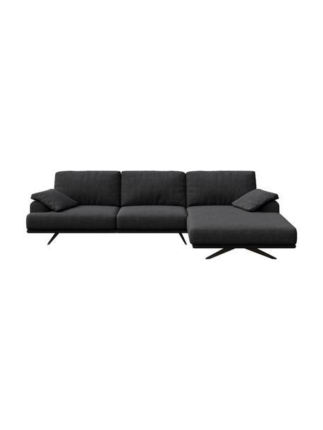 Sofa narożna Prado, Tapicerka: 100% poliester, Nogi: metal lakierowany, Ciemnyszary, S 315 x G 180 cm