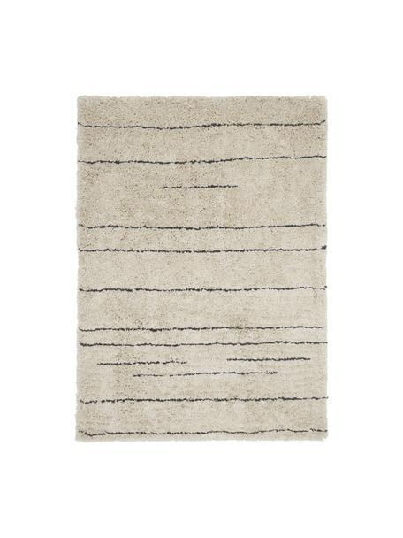 Flauschiger Hochflor-Teppich Dunya, handgetuftet, Flor: 100% Polyester, Beige, Schwarz, B 160 x L 230 cm (Größe M)