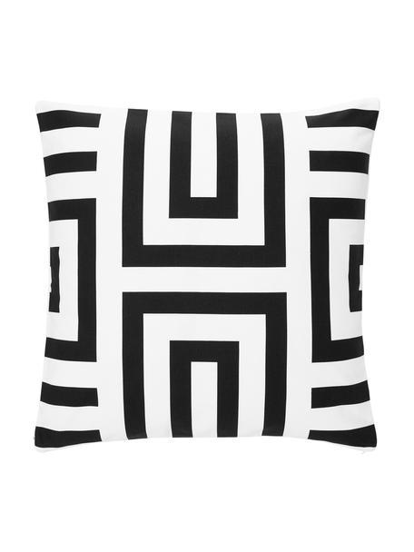 Kussenhoes Bram  in zwart/wit met grafisch patroon, 100% katoen, Wit, zwart, 45 x 45 cm