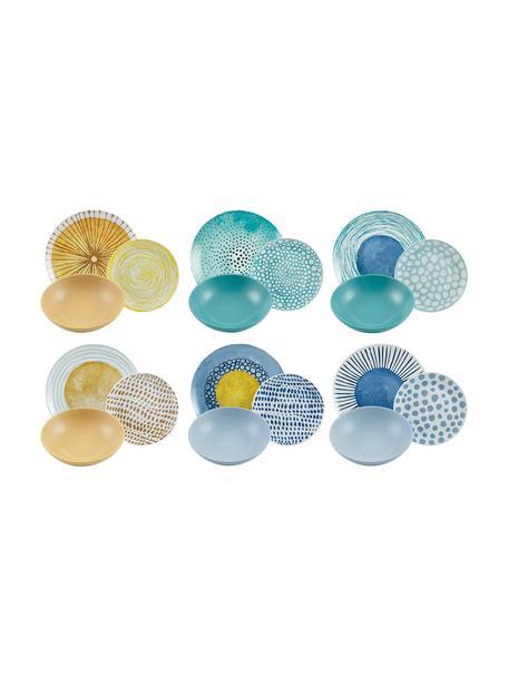 Serviesset Marea in verschillende designs, 6 personen (18-delig), Porselein, keramiek, Blauw, wit, geel, Set met verschillende formaten