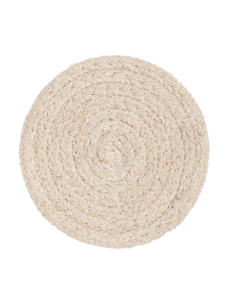 Okrągła podstawka z bawełny Vera, 4 szt., 100% bawełna, Odcienie kremowego, Ø 10 cm