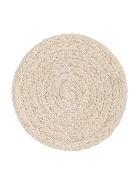 Ronde onderzetter Vera van katoen, 4 stuks, 100% katoen, Crèmekleurig, Ø 10 cm