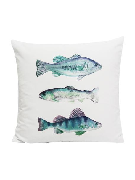 Kussenhoes Fish met motief in aquarellook, 100% polyester, Wit, blauw-, groen-, lilatinten, 45 x 45 cm