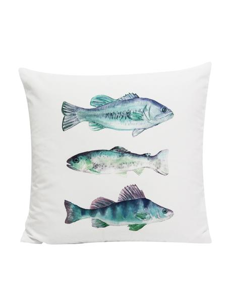 Dwustronna poszewka na poduszkę Fish, 100% poliester, Biały, niebieski, odcienie zielonego, odcienie lila, S 45 x D 45 cm