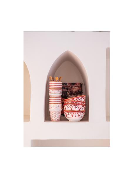 Handgemachtes marokkanisches Schälchen Moyen mit goldenen Details, Ø 15 cm, Keramik, Orange, Cremefarben, Gold, Ø 15 x H 9 cm