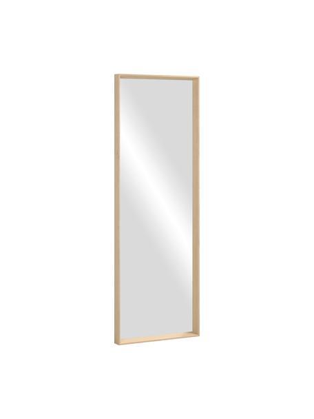 Eckiger Wandspiegel Nerina mit beigem Holzrahmen, Rahmen: Holz, Spiegelfläche: Spiegelglas, Beige, 52 x 152 cm