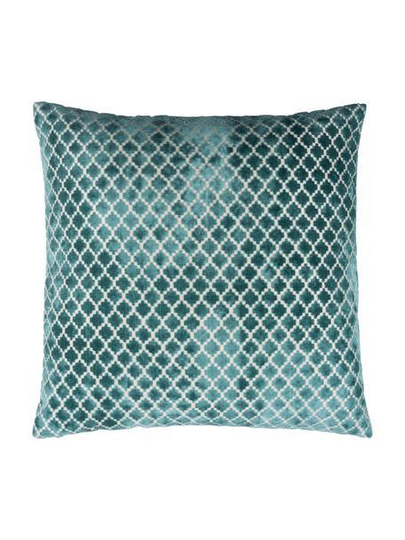 Gemusterte Samt-Kissenhülle Calista in Blau, 60% Polyester, 40% Viskose, Marineblau, Gebrochenes Weiß, 60 x 60 cm