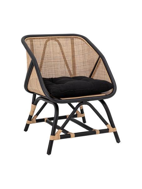 Fotel wypoczynkowy z rattanu z poduszką siedziska Loue, Stelaż: rattan, Tapicerka: tkanina, Beżowy, czarny, S 71 x G 65 cm