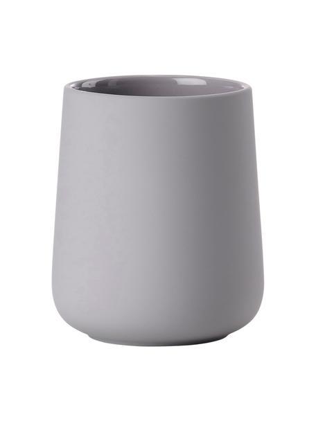 Kubek na szczoteczki z porcelany Nova One, Porcelana, Jasny szary, Ø 8 x W 10 cm