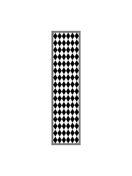 Flache Vinyl-Bodenmatte Bobby II in Schwarz/Weiß, rutschfest, Vinyl, recycelbar, Schwarz, Weiß, 65 x 255 cm