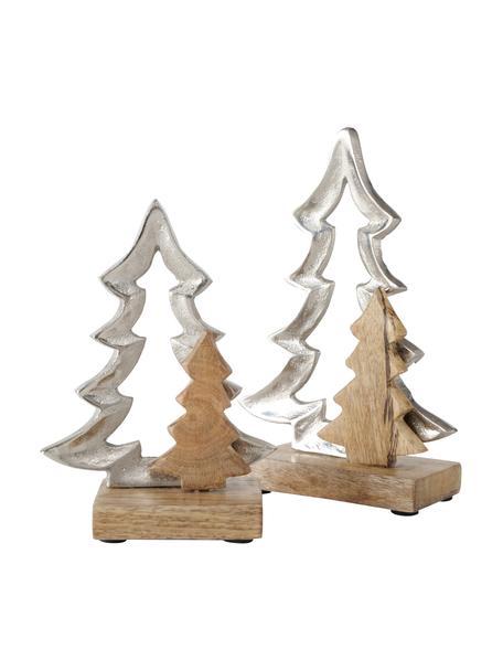 Decoratieve boompjes Lollja in zilverkleur, 2 stuks, Mangohout, gecoat metaal, Mangohoutkleurig, zilverkleurig, Set met verschillende formaten