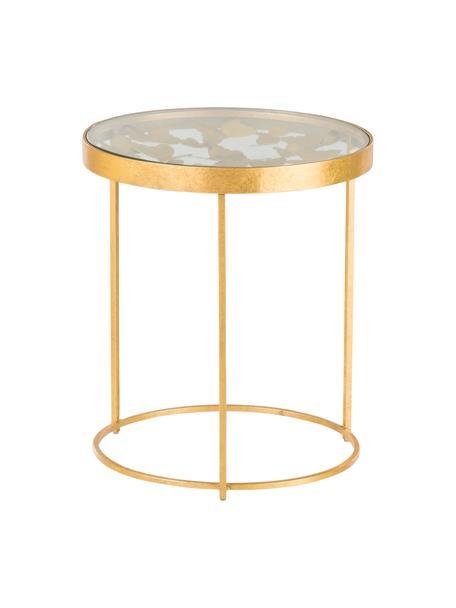 Mesa auxiliar Butterfly, Tablero: vidrio, Estructura: metal, recubierto, Dorado, Ø 45 x Al 52 cm
