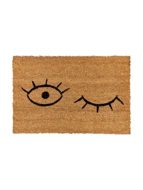 Zerbino in cocco con occhiolino  Wink, Retro: materiale sintetico (PVC), Fondo: beige, nero retro: nero, Larg. 40 x Lung. 60 cm