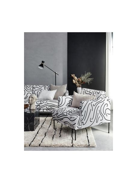 Fauteuil met patroon Fluente met metalen poten, Bekleding: 100% polyester, Frame: massief grenenhout, Poten: gepoedercoat metaal, Geweven stof wit, B 74 x D 85 cm