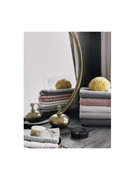 Set 3 asciugamani con motivo a nido d'ape Katharina, Grigio argento, Set in varie misure