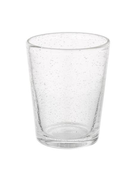Vasos de vidrio soplado artesanalmente con burbujas Bubble, 4uds., Vidrio soplado artesanalmente, Transparente con burbujas de aire, Ø 8 x Al 10 cm