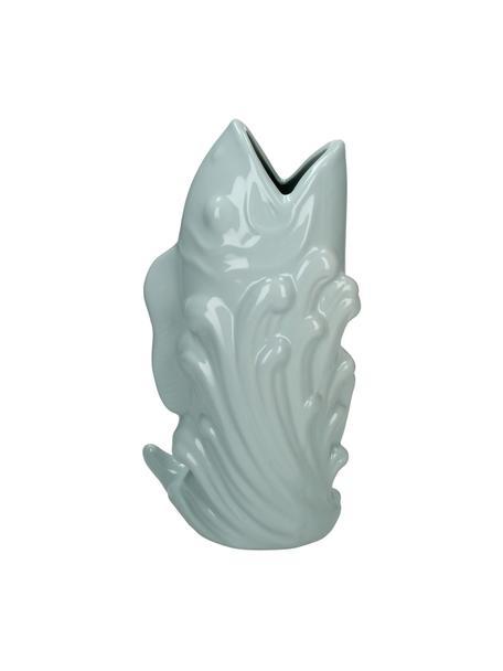 Vaso pesce di design in gres Fish, Gres, Blu, Larg. 16 x Alt. 28 cm