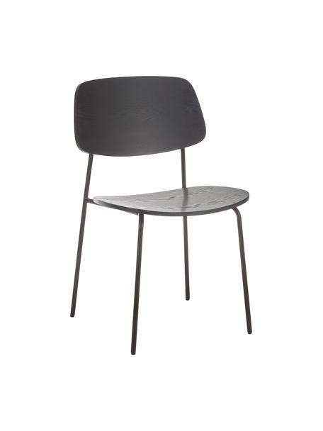 Houten stoelen Nadja, 2 stuks, Zitvlak: multiplex met essenhoutfi, Poten: gepoedercoat metaal, Zwart, B 50 x D 53 cm