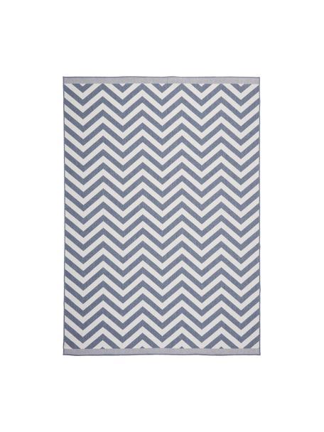 In- & Outdoor-Teppich Palma mit Zickzack-Muster, beidseitig verwendbar, 100% Polypropylen, Blau, Creme, B 80 x L 150 cm (Größe XS)