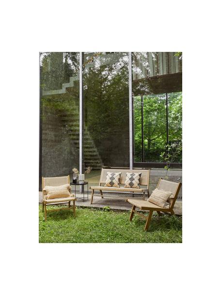 Ławka ogrodowa ze splotem z tworzywa sztucznego Palina, Stelaż: metal malowany proszkowo, Brązowy, S 121 x W 75 cm