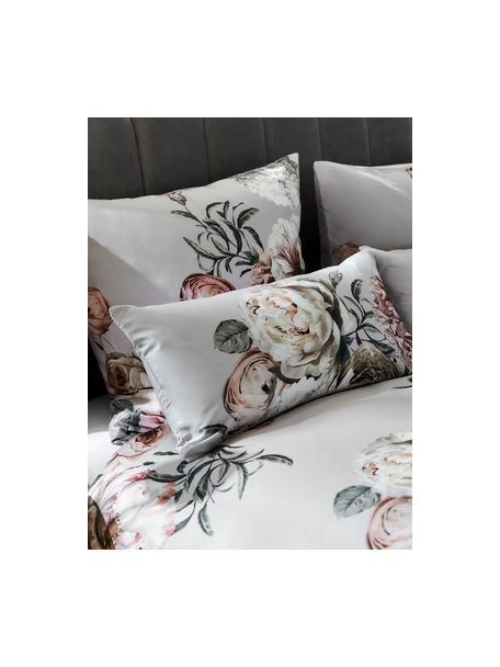 Poszewka na poduszkę z satyny bawełnianej Blossom, 2 szt., Wielobarwny, szary, S 40 x D 80 cm