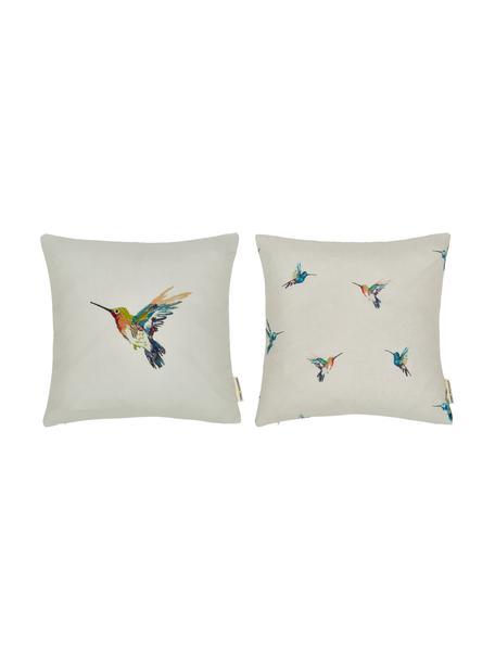 Set 2 federe arredo con motivo colibrì Joanna, 100% poliestere, Multicolore, Larg. 40 x Lung. 40 cm