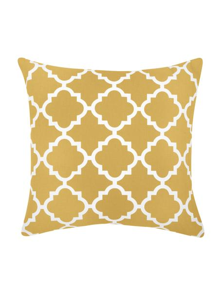 Kissenhülle Lana mit grafischem Muster, 100% Baumwolle, Gelb, Weiß, 45 x 45 cm