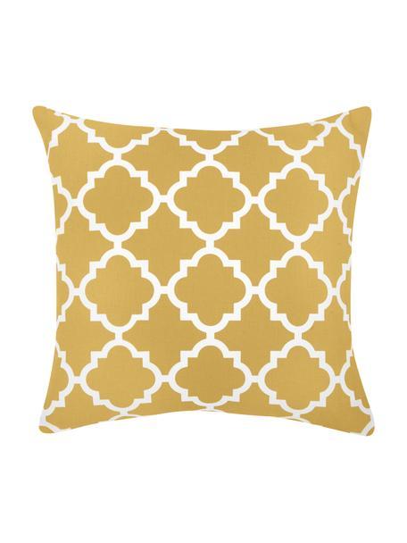 Kussenhoes Lana met grafisch patroon, 100% katoen, Geel, wit, 45 x 45 cm