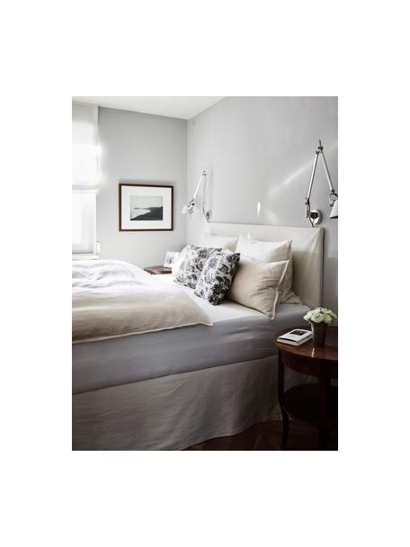 Gestoffeerd bed Feather met opbergruimte in beige, Frame: massief grenenhout en pla, Bekleding: polyester (gestructureerd, Geweven stof beige, 140 x 200 cm
