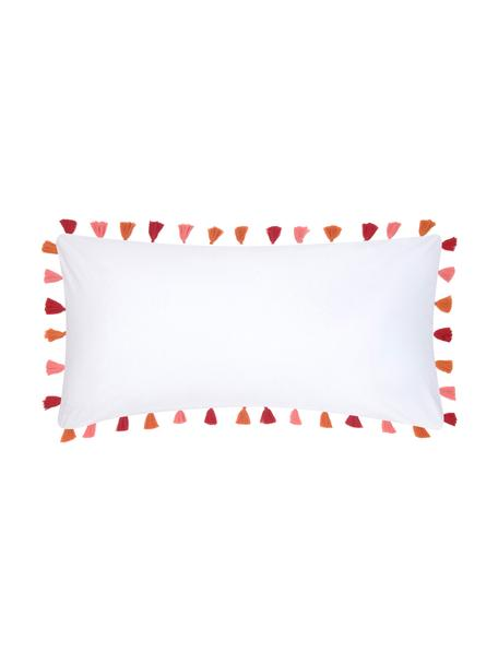 Baumwollperkal-Kissenbezüge Quo mit Quasten, 2 Stück, Webart: Perkal Fadendichte 200 TC, Weiß, Mehrfarbig, 40 x 80 cm