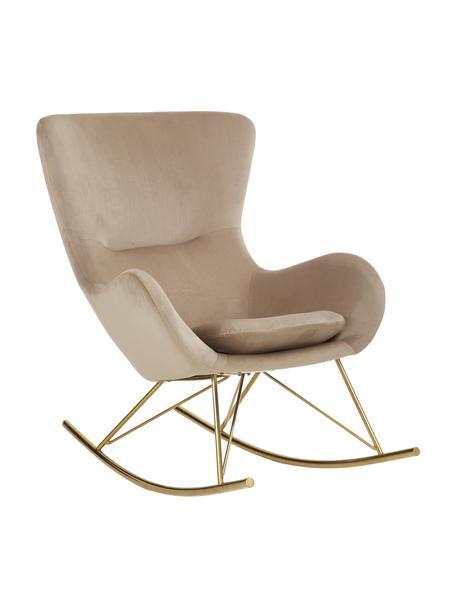 Fluwelen schommelstoel Wing in taupe met metalen poten, Bekleding: fluweel (polyester), Frame: gegalvaniseerd metaal, Fluweel beige, 76 x 108 cm