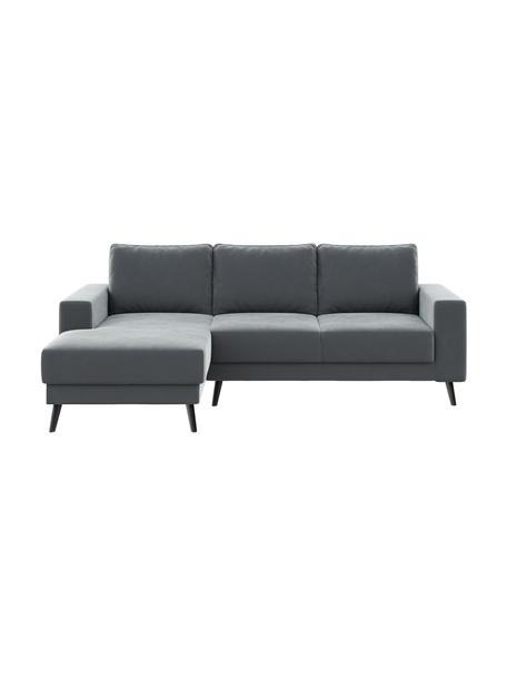 Sofa narożna z aksamitu Fynn (3-osobowa), Tapicerka: 100% aksamit poliestrowy , Nogi: drewno lakierowane, Aksamitny stalowy szary, S 234 x G 145 cm