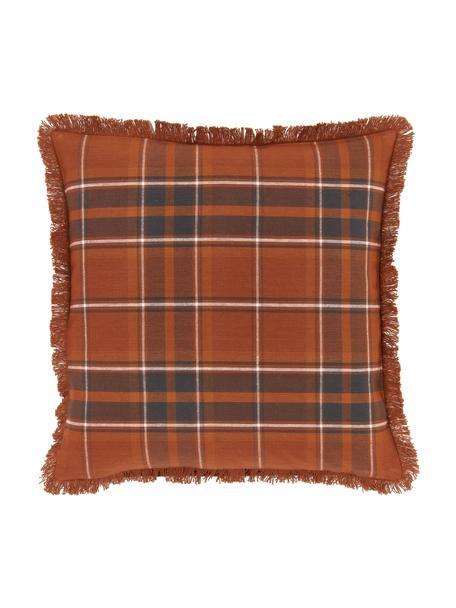 Karierte Kissenhülle Stirling mit Fransen, 100% Baumwolle, Mehrfarbig, 45 x 45 cm
