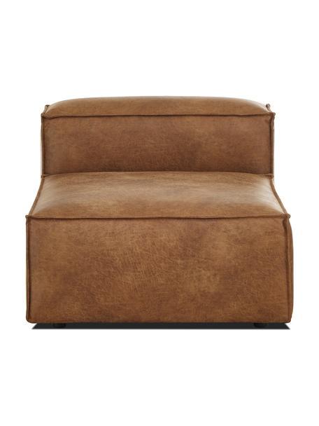 Módulo central sofá de cuero reciclado Lennon, Tapizado: cuero reciclado (70%cuer, Estructura: madera de pino maciza, ma, Patas: plástico Las patas están , Cuero marrón, An 89 x F 119 cm